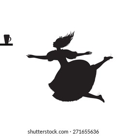 Alice falling down, Lewis Carroll fairytale, black and white, vector
