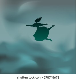 Alice falling down, Lewis Carroll fairytale, wonderland in cloud, girl falling down in the green clouds