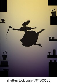 Alice falling down, Lewis Carroll fairytale, shadows, vector