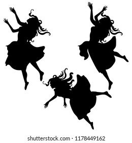 Alice girl in dress falling down  fairytale silhouette in diffrent poses black and white vector illustration set.