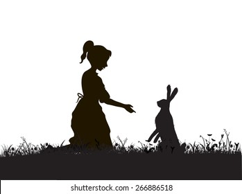 Alice, girl and hare on the field, black and white, silhouette, shadows, touching