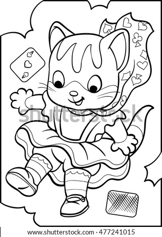 Alice Kitten Alice Wonderland Coloring Vector Vector de stock (libre ...