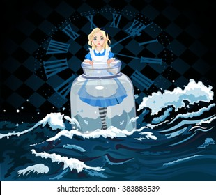 Alice stands in a transparent jar on watch background