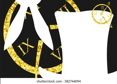 Alice in Wonderland. Background with gold glitter