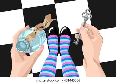 Alice in wonderland. Background.Alice looks at key and potion in the hands. Alice makes the choice. Stock vector, wonderland illustration
