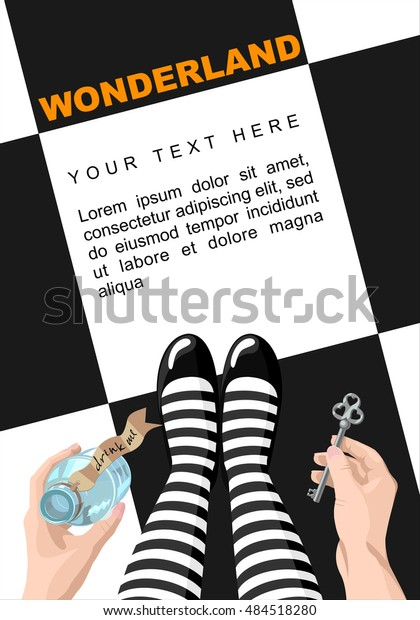 Alice in wonderland. Background.Alice looks at key and potion in the hands. Alice makes the choice. Stock vector, place for  text,  template for design. Wonderland poster