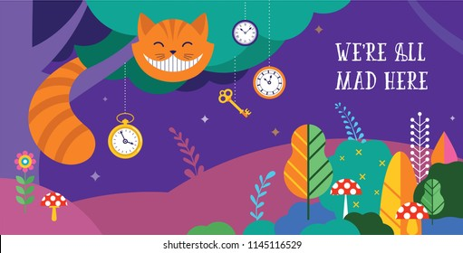 Alice in Wonderland banner, poster and card. We are mad here. Colorful vector background