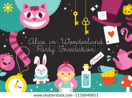 Alice Wonderland Birthday Party Invitation Design Stock Vector
