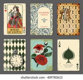 Alice in Wonderland Cards illustrating famous novel by Lewis Carroll, including Queen of Hearts, white roses painted red, Rabbit's pocket watch, book title page and keyhole wall