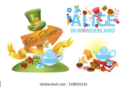 "Alice in wonderland characters collection. The inscription ""Alice in Wonderland"", sweets and tableware for tea on a white background."