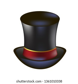 Alice in wonderland characters collection. Mad Hatter black hat with red ribbon on a white background.