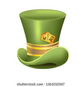 Alice in wonderland characters collection. Mad Hatter green hat with yellow ribbon on a white background.