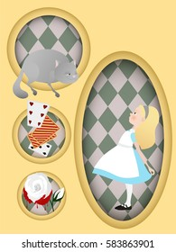 Alice in Wonderland. Cheshire cat, white rose, cards. Book illustration.