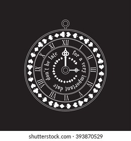 Alice in Wonderland circle label. Vintage label with playing cards, old key and quote. Vector invitation sticker.