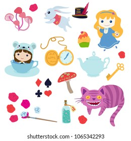 Alice in Wonderland. Cute cartoon set. Clip art illustrations collection on isolated background.