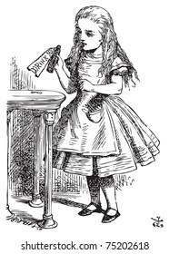 Alice in Wonderland. Drink me. Alice is picking up a small bottle on the table, which has a label that you can read Drink Me.Alice's Adventures in Wonderland. Illustration from John Tenniel