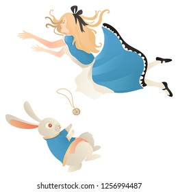 Alice in Wonderland, falling  with white rabbit. Cute girl in dress. Vector illustration.