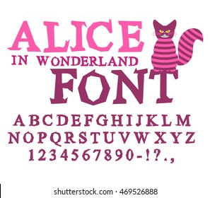 Alice in Wonderland font. Fairy ABC. mad Alphabet.  Cheshire Cat. Set of letters. Magical beast with long striped tail