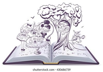Alice in Wonderland. Girl and rabbit drinks tea. Open book vector illustration