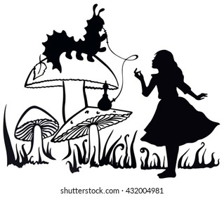 Alice in Wonderland ink sketch. Alice speaking with the smoking caterpillar: Alice's Adventures in Wonderland.