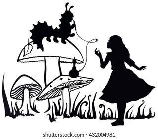 Alice in Wonderland ink sketch. Alice speaking with the smoking caterpillar: Alice's Adventures in Wonderland.