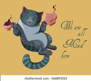 Alice in Wonderland invitation card - We are all mad here - with cheshire cat, cap of tea and teapot
