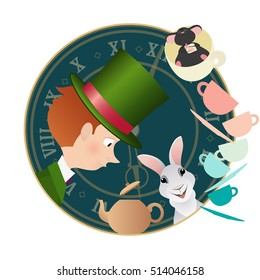 Alice in Wonderland. Mad tea party. Hatter, Dormouse, White Rabbit.