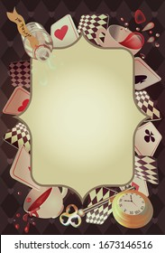 Alice in Wonderland. Playing cards, pocket watch, key, cup and poison falling down the rabbit hole. Frame and place for text. We are mad here. Vector background