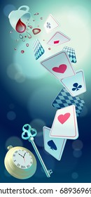 Alice in Wonderland. Playing cards, pocket watch, key, cup and poison falling down the rabbit hole. Vector background, vertical banner