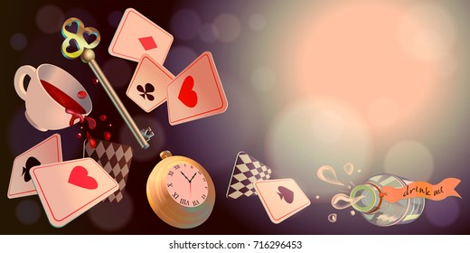 Alice in Wonderland. Playing cards, pocket watch, key, cup and poison falling down the rabbit hole. Vector background, horizontal banner