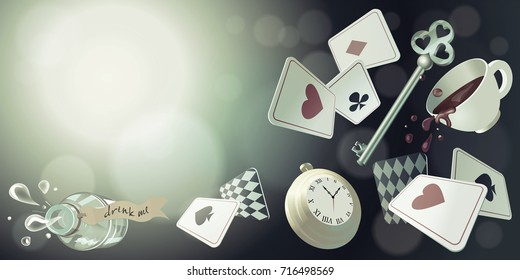 Alice in Wonderland. Playing cards, pocket watch, key, cup and poison falling down the rabbit hole. Vector background, horizontal banner.