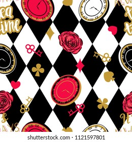 Alice in wonderland seamless pattern with chess board.