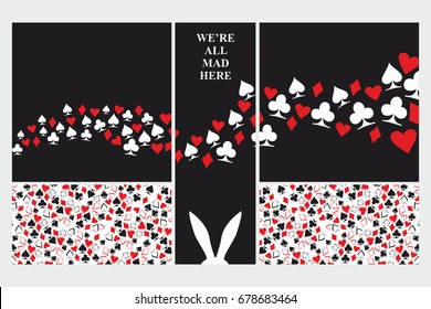 Alice in Wonderland. Set of card. Playing card suits on white and black background. White rabbit. We are all mad here. Vector illustration