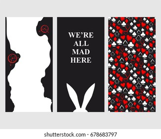 Alice in Wonderland. Set of card. Playing card suits: worms, bubi, christen, peaks on white background. Seamless pattern. White rabbit and rabbit's hole . We are all mad here. Vector illustration