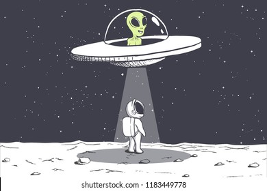 an alien abducts an astronaut on Moon.Cosmic friends.Vector illustration