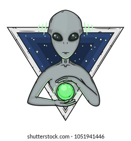 Alien. Cartoon alien. Grey alien. Alien logo. Greys.