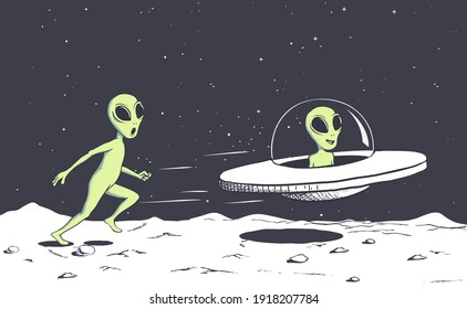 alien catching a flying saucer.Vector illustration