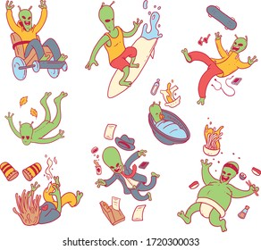 Alien Characters vector illustration. Pattern, work, characters, funny, secret design concept
