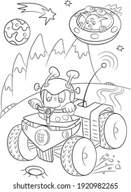 Alien coloring page. Space background. Universe illustration. Shuttle coloring page. Space ship and planets sketch. Cosmos coloring page
