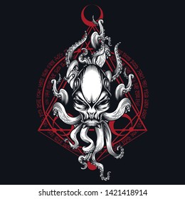 Alien creature with tentacles and sacred geometry ornament. Vector illustration in engraving technique for posters, t-shirt prints, tattoo, labels and stickers.