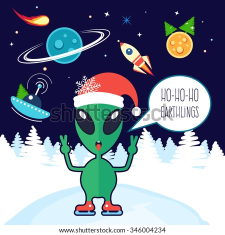 See the New Year's Eve 'ball drop' in space - ISS crew message Alien-earthlings-wishes-merry-christmas-450w-346004234