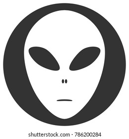 Alien face emoji. Martian head silhouette in circle. Vector icon.