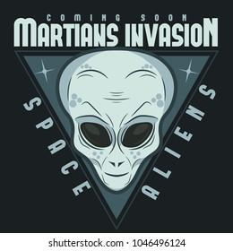 Alien face tee stump, humanoid martian head print, futuristic space invader, paranormal fantasy cartoon emblem vector illustration