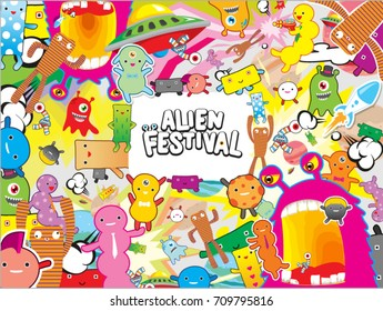 Alien festival abstract design background vector