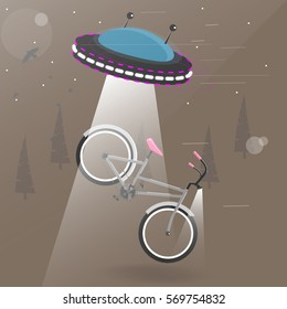 Alien flying with lights took the bike. Funny cartoon vector illustration. Background for brochure or booklet.