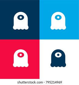 Alien four color material and minimal icon logo set in red and blue