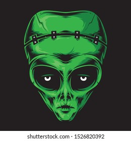 alien frankenstein head vector logo
