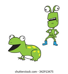 Alien and frog cartoon character drawing