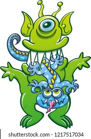 Alien green monster with pointy ears and sharp fangs chewing a lizard-like blue monster. The big monster has a defiant attitude while the little one asks for clemency and sticks its tongue out
