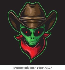 alien head cowboy vector logo
